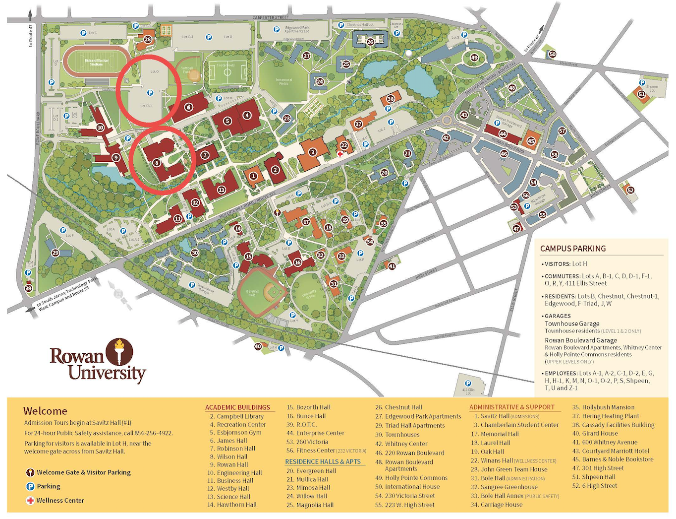 Rowan Campus Map Campus Map | College of Communication and Creative Arts | Rowan